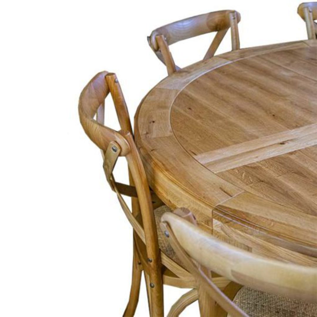 Oak Round Table Natural Top White Base 1.5M image 1