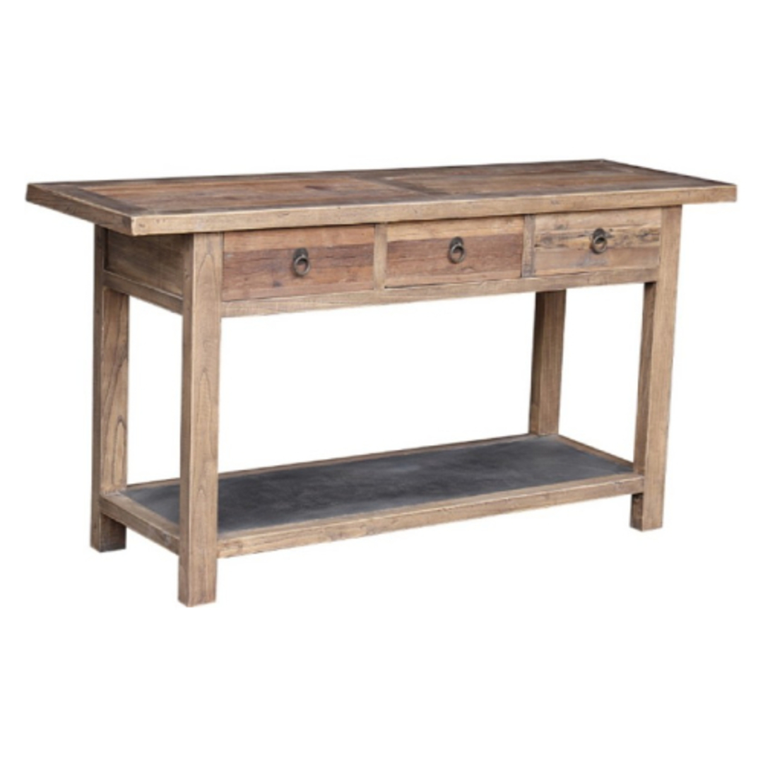 Reclaimed Elm Console With Metal Shelf image 0
