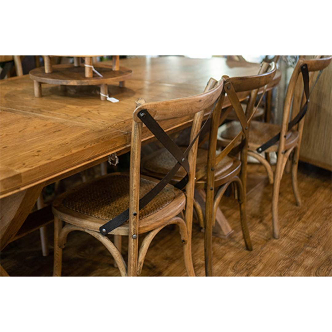 Oak Cross Back Chair Metal image 5