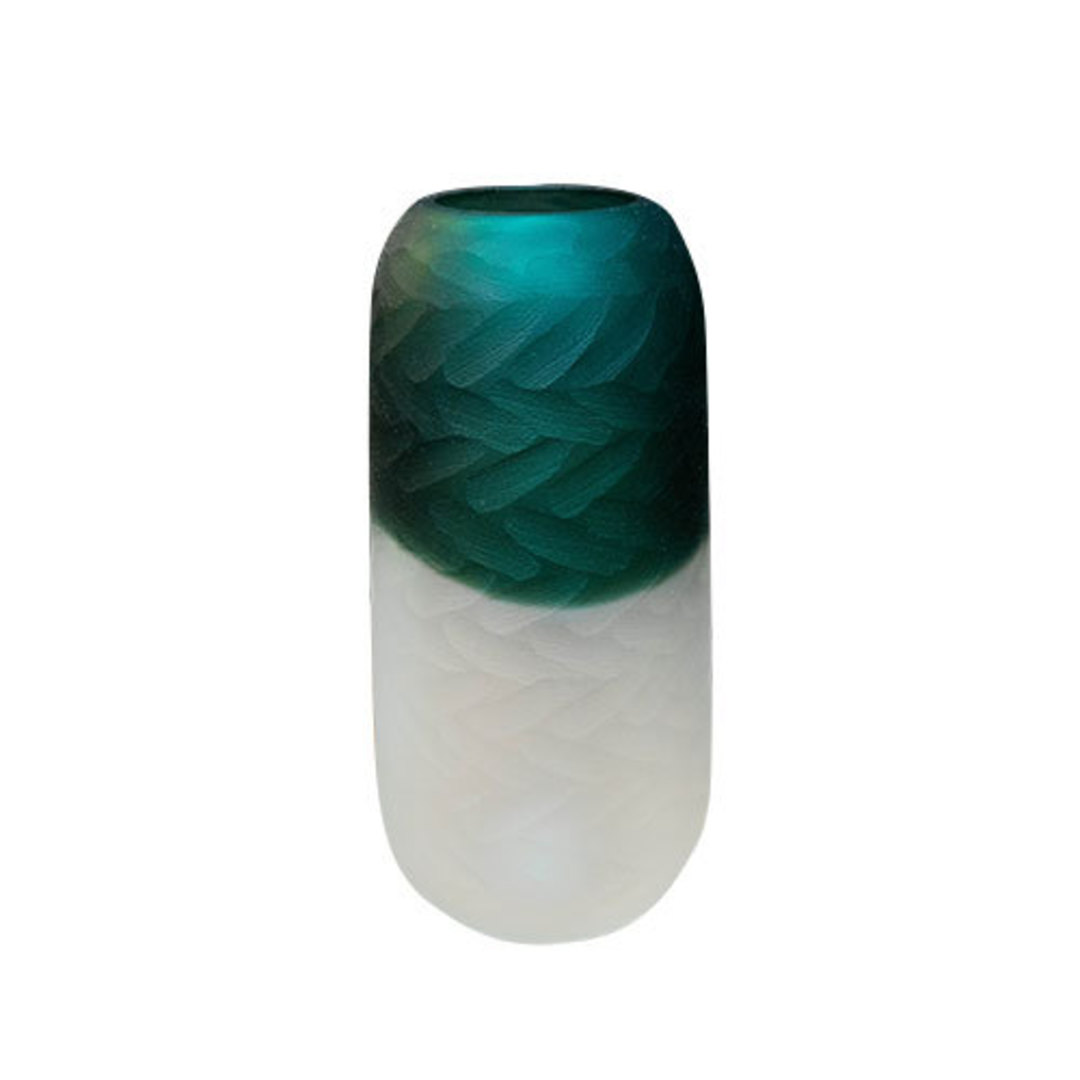 Tidal Teal Green Hand Carved Vase Tall image 0
