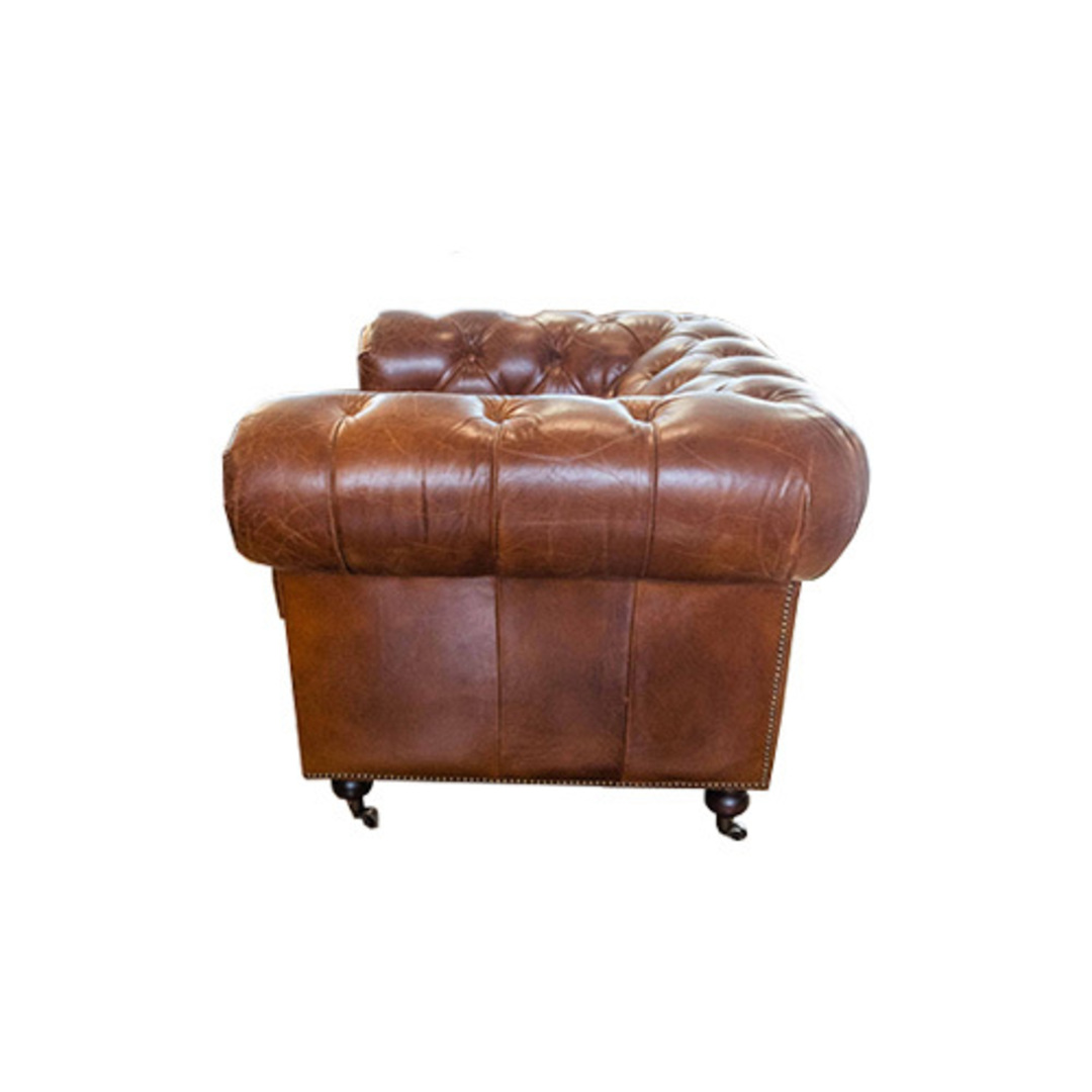 Chesterfield Aged Italian Leather 1 Seater Brown image 1