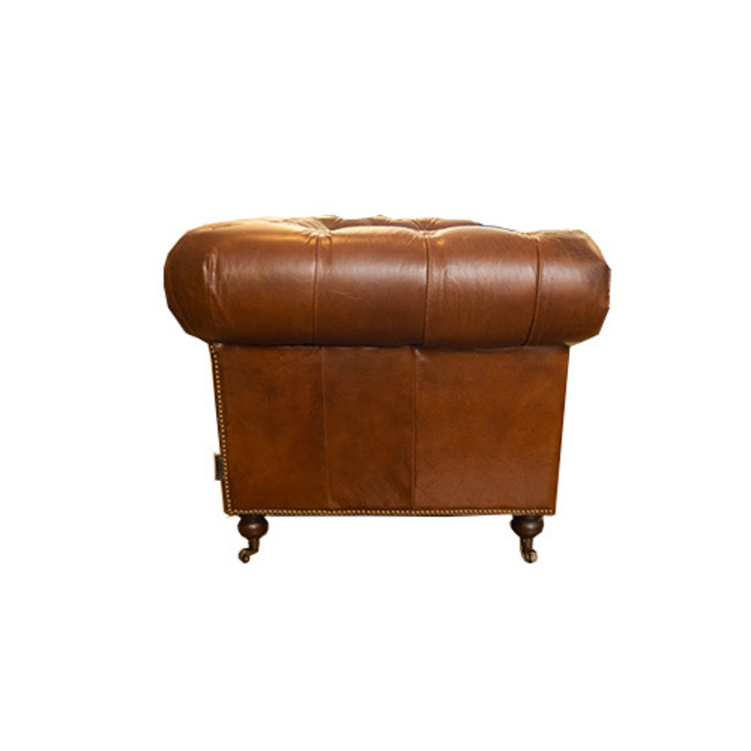 Chesterfield Aged Italian Leather 2 Seater Brown image 2
