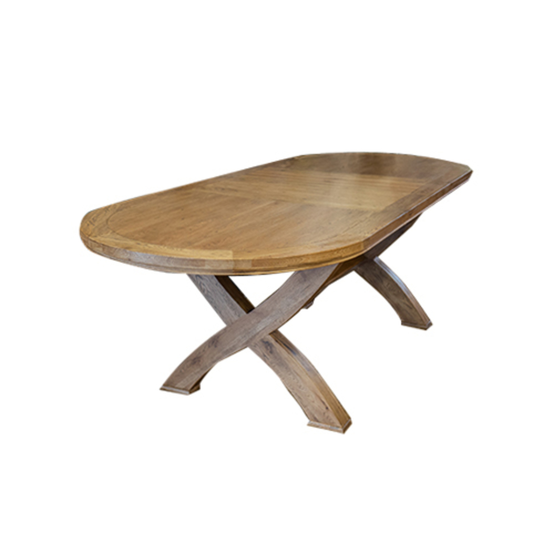 Oak Oval Extension Dining Table with Crossed legs image 0