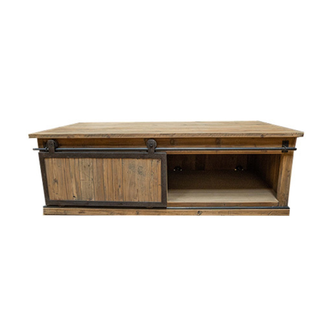 Industrial Coffee Table With Sliding Door image 5