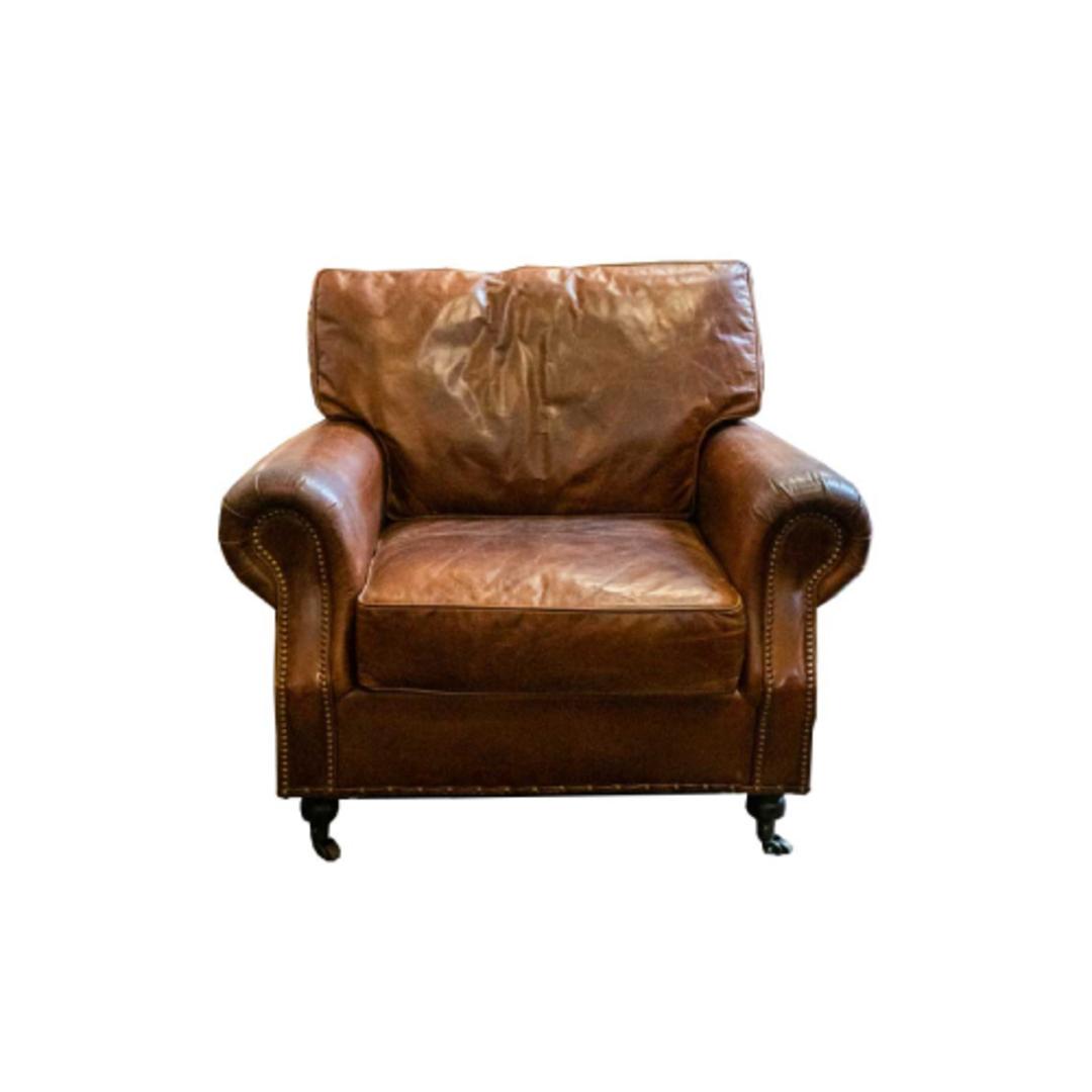 Churchill Aged Italian Leather Chair image 0
