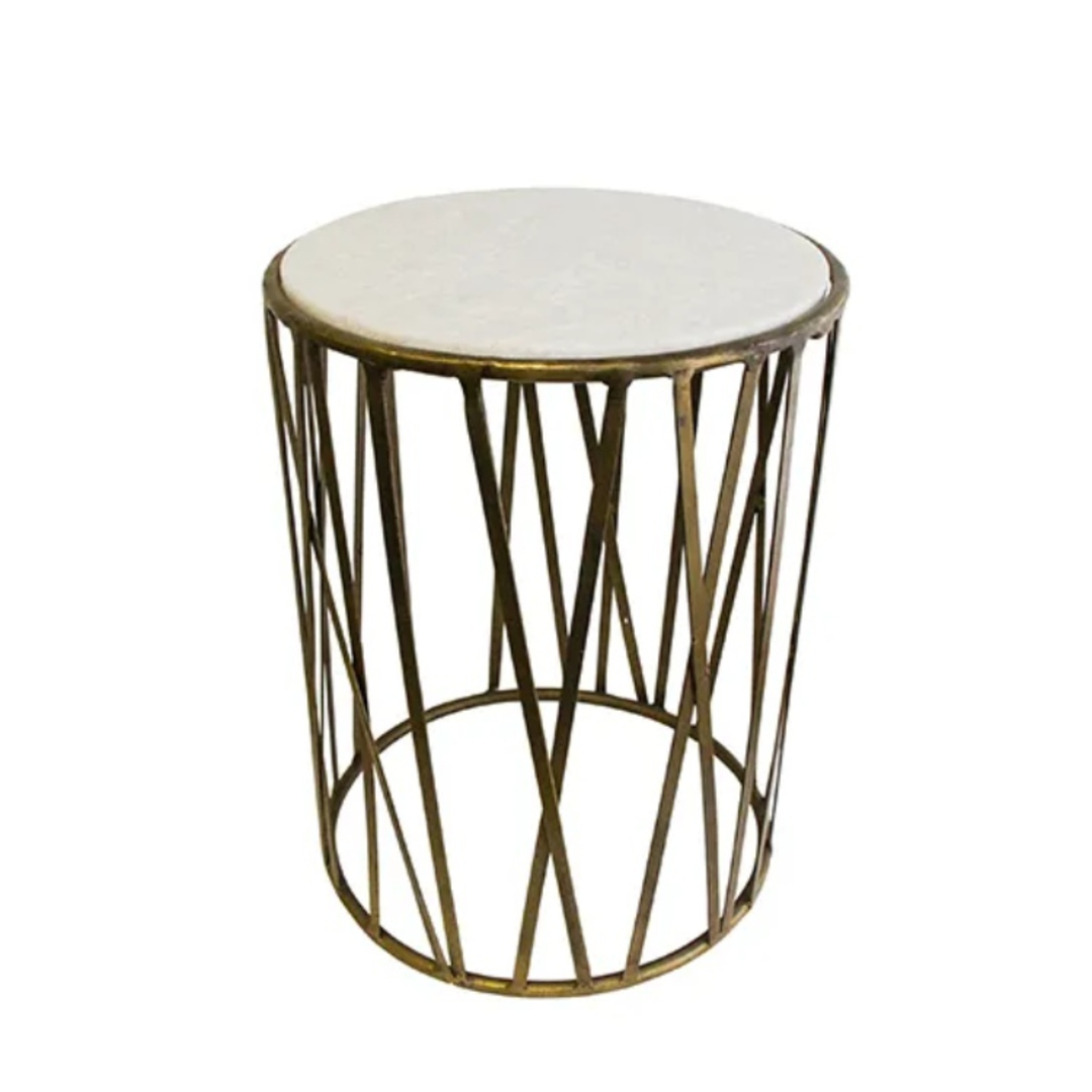 Criss Cross Marble Top Side Table Gold image 1
