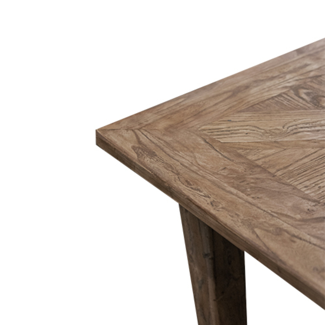 French Dining Table Recycled Elm Parquet Top 1.8M image 4
