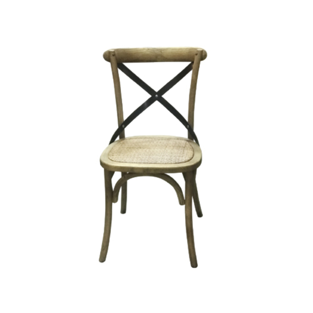 Porto Metal Cross Back Chair Rattan Seat image 0