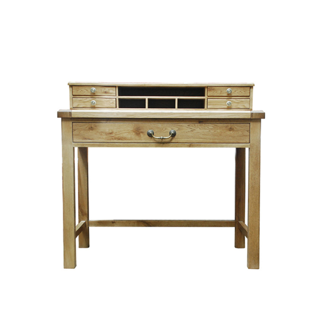 Oak Study Desk With Drawers image 0
