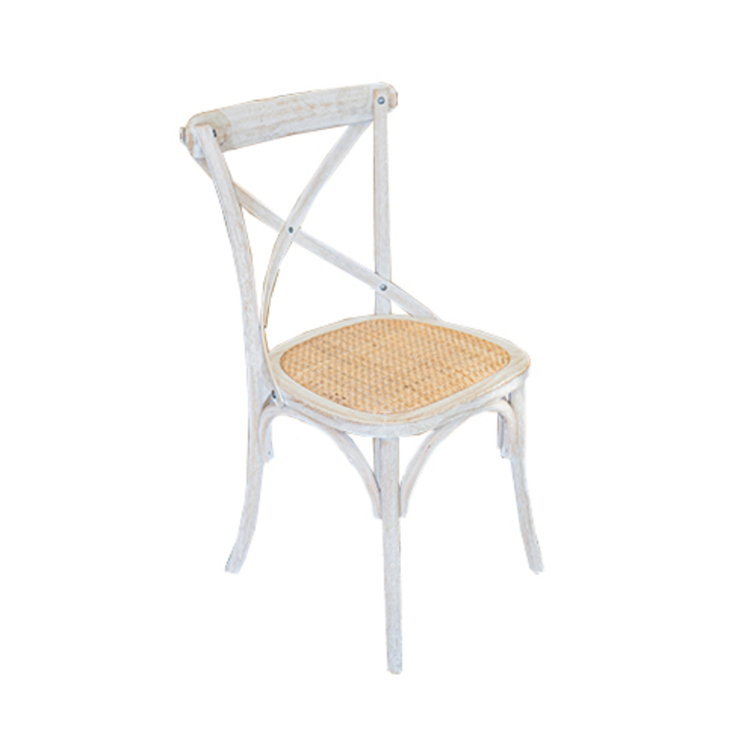 Marco Oak White Washed Wooden Cross Chair with Rattan Seat image 0