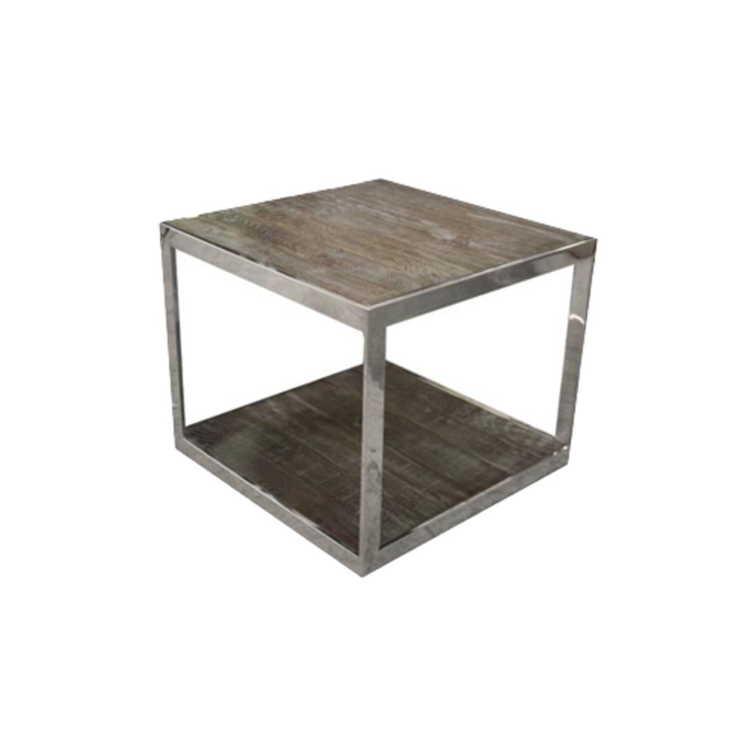 Hamstead Side Table Stainless Steel With Heritage Oak image 0