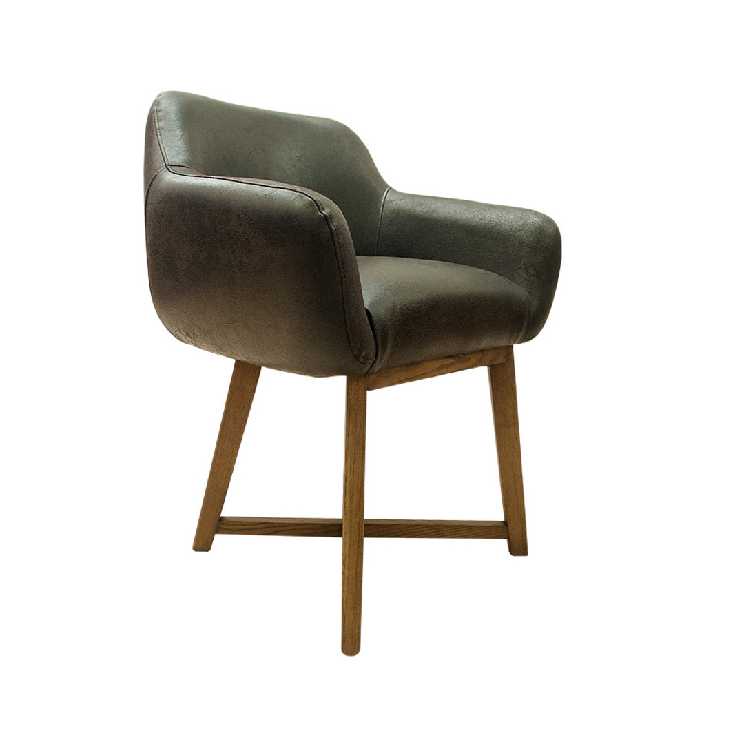 Hugo Dining Chair Tub Dark Brown image 1