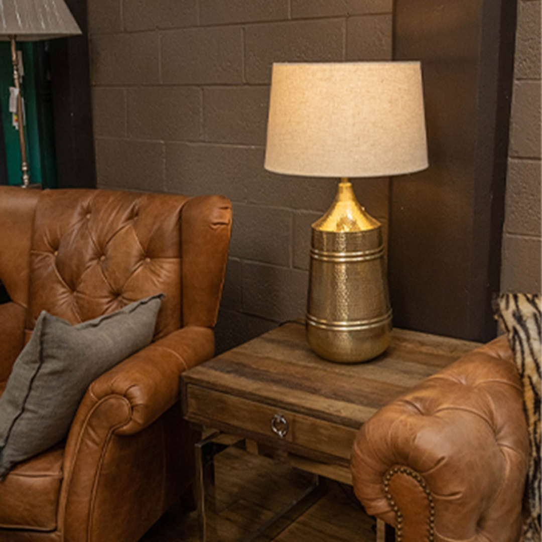 Brass Etched Table Lamp image 1
