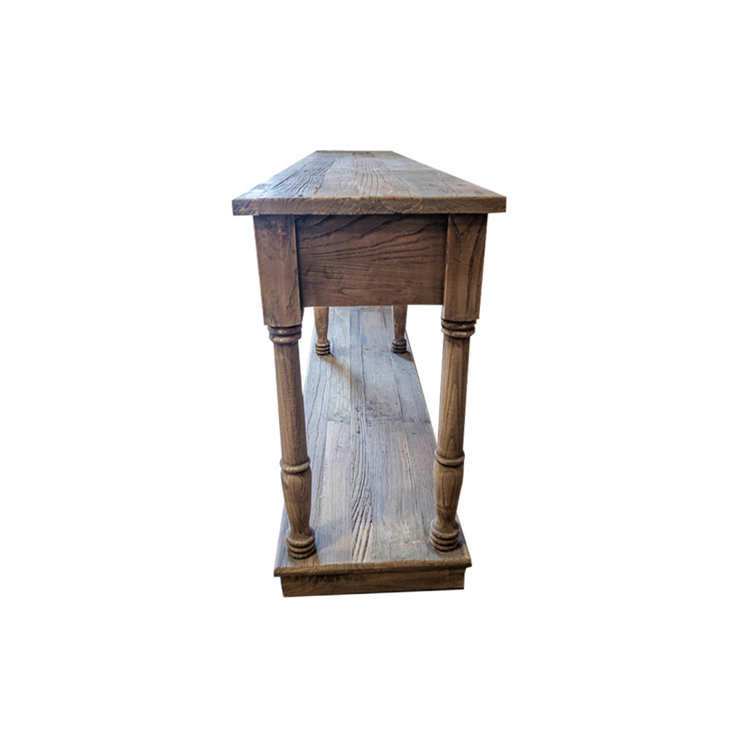 Reclaimed Elm Victoria 4 Drawer Console With Shelf image 1
