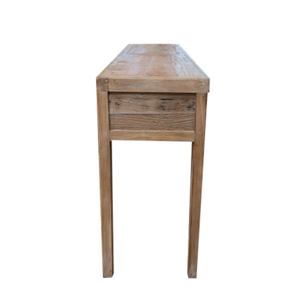 Recycled Elm 3 Drawer Hall Table image 3