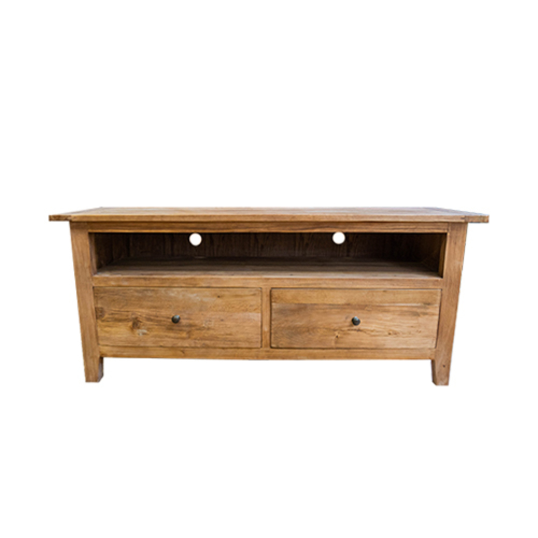 Reclaimed Elm TV Unit With 2 Drawer image 1