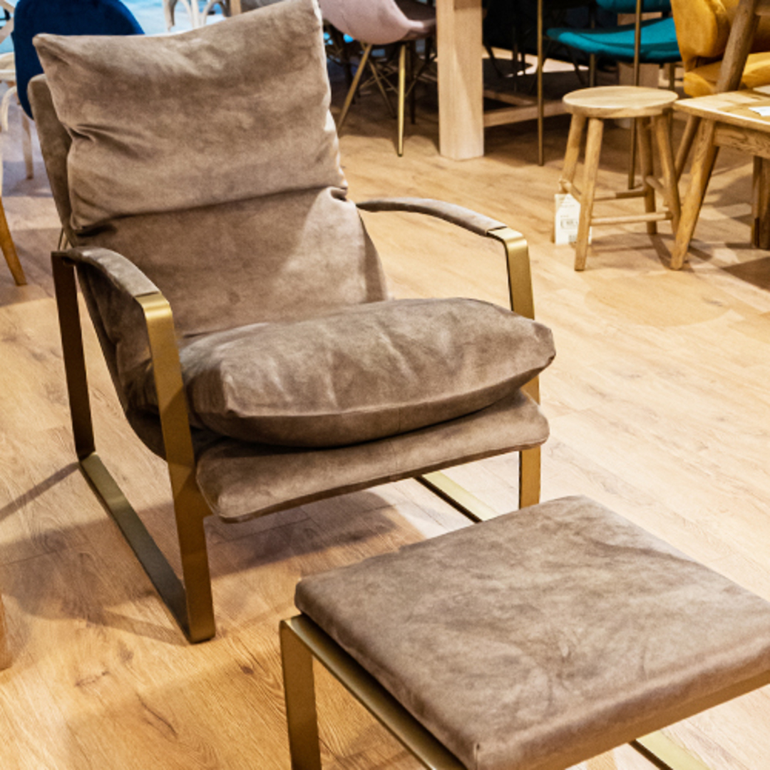 Sienna Chair & Ottoman Fabric Espresso image 1