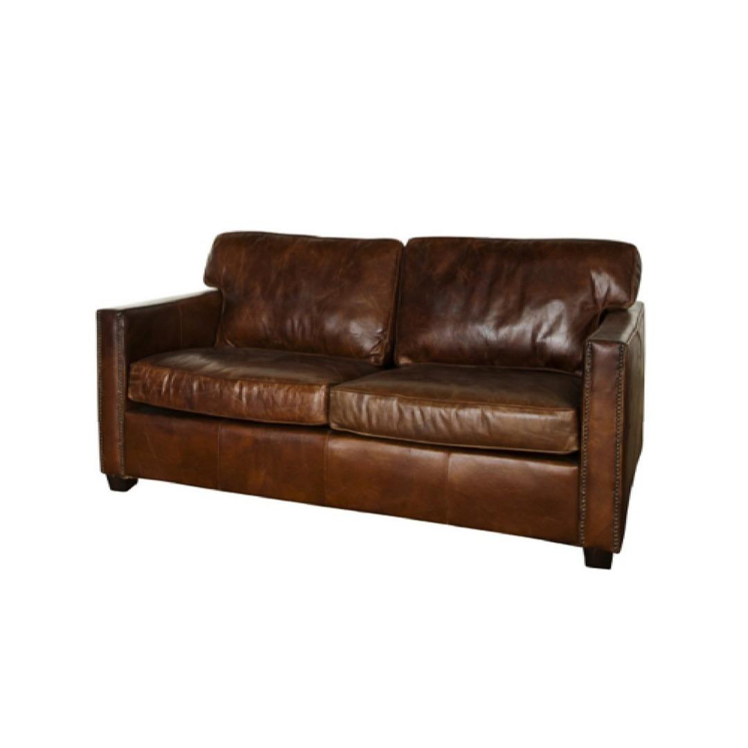 Buckingham Aged Italian Leather 2 Seater Brown image 0