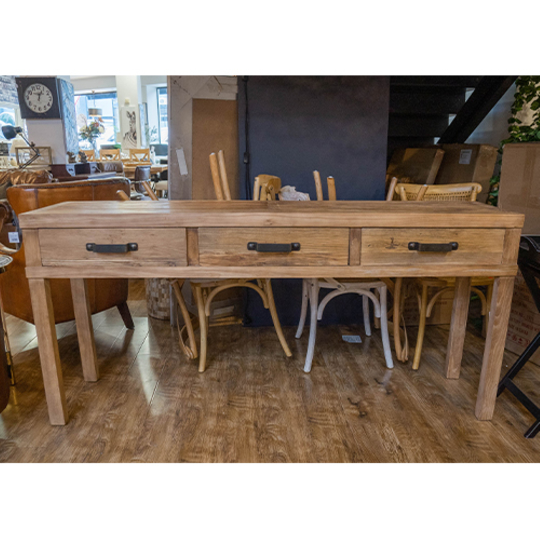 Recycled Elm 3 Drawer Hall Table image 7