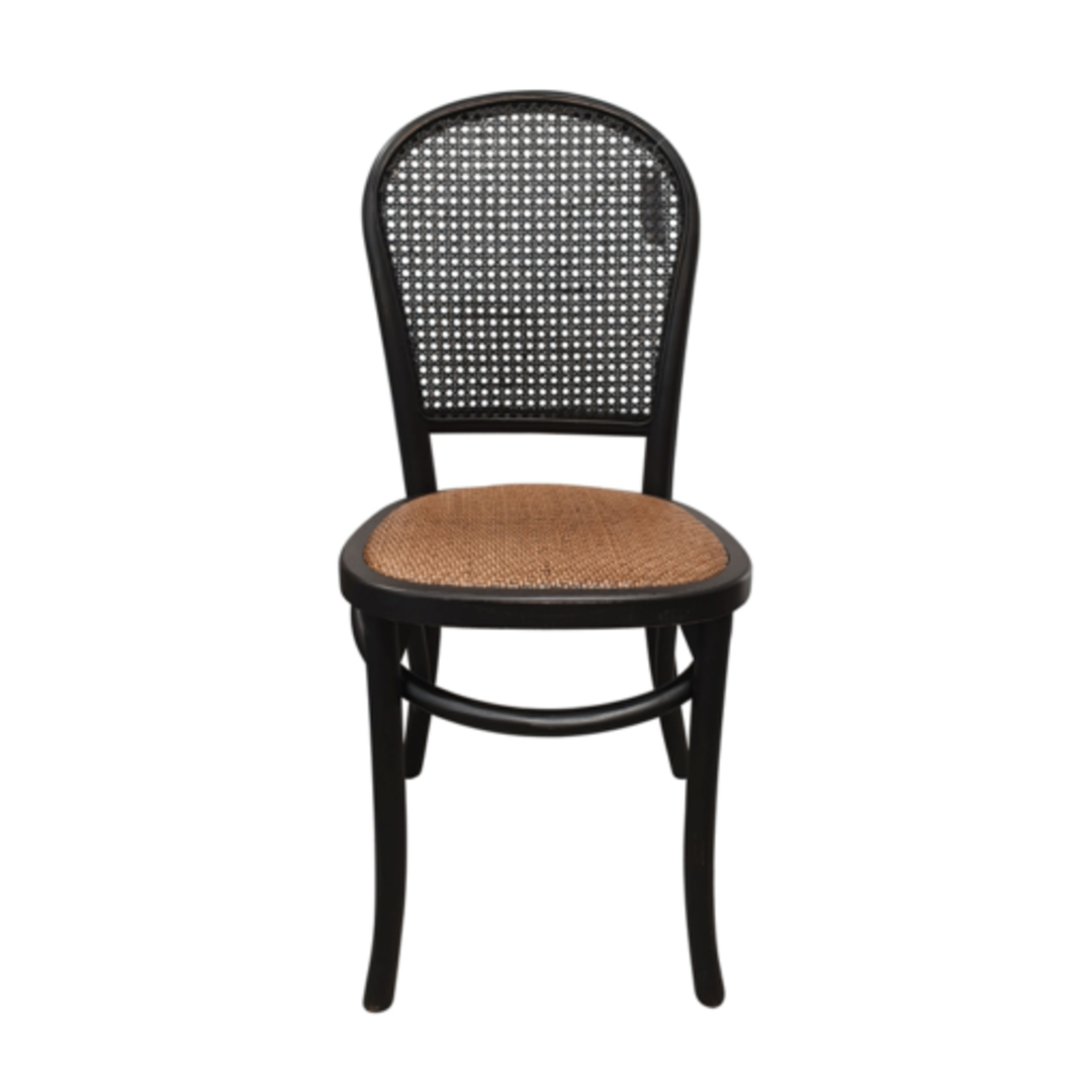 Meshach Rattan and Oak Dining Chair Black image 1