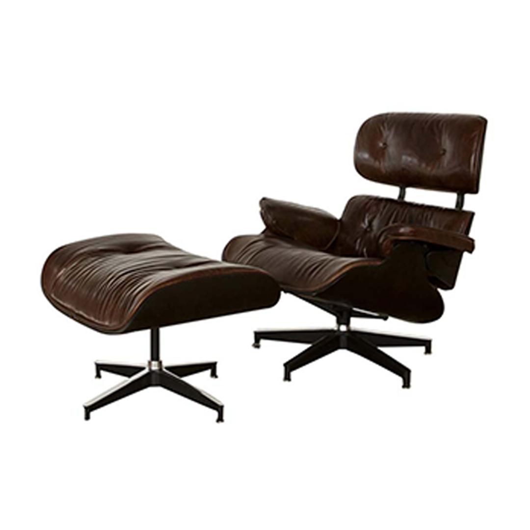 Eames Chair & Footstool Vintage Cigar image 0
