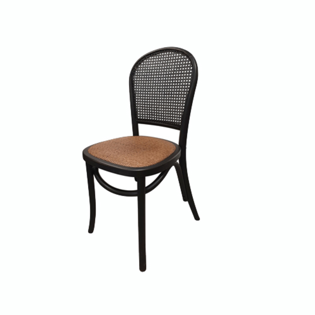 Meshach Rattan and Oak Dining Chair Black image 0