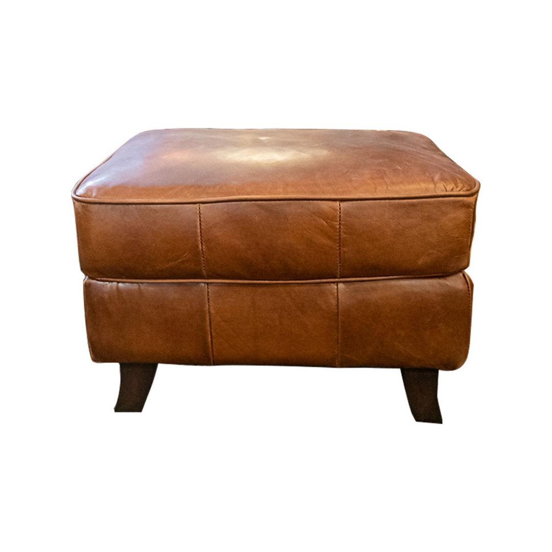 Aged Italian Leather Ottoman image 2