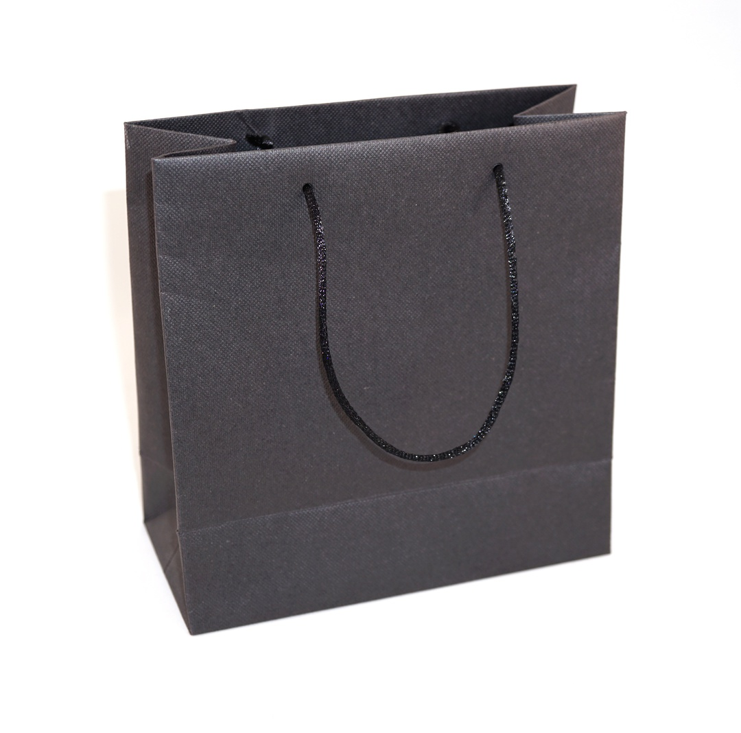 SMALL BLACK CARRY BAG WITH BLACK STRING HANDLES image 0