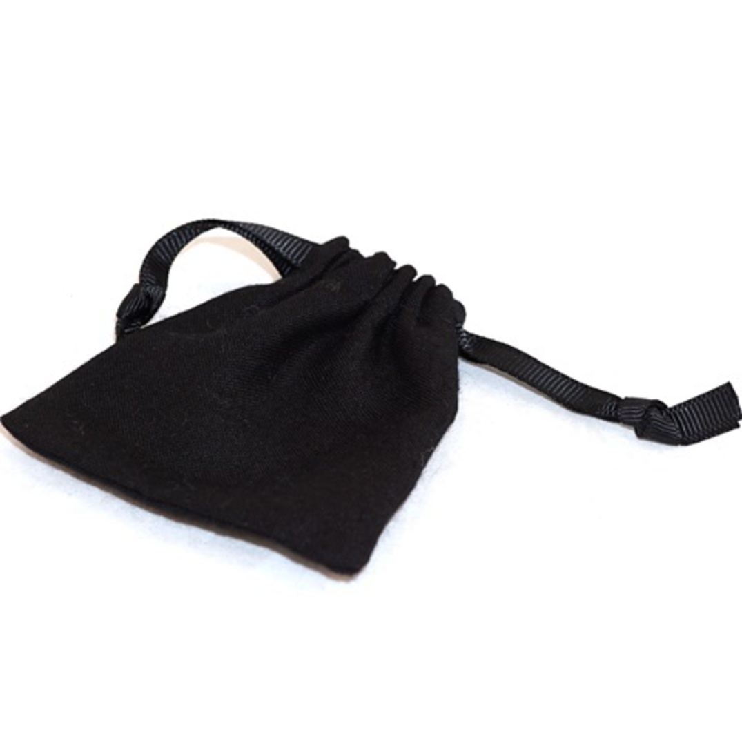 SMALL CALICO POUCH BLACK/BLACK RIBBON 70 X 80 MM image 1