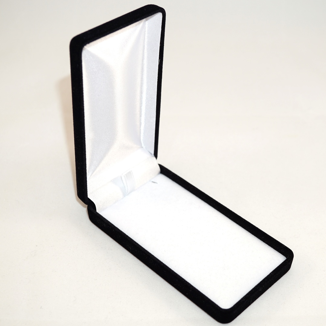 SSLP - LONG PENDANT BOX BLACK FLOCK WHITE VELVET PAD BULK DEAL (24 PCS) image 0