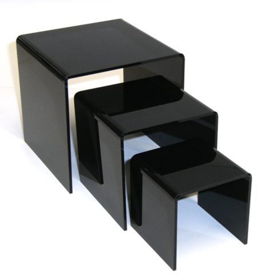 3 STEP BLACK PERSPEX DISPLAY STAND (3 PCS SET) image 1