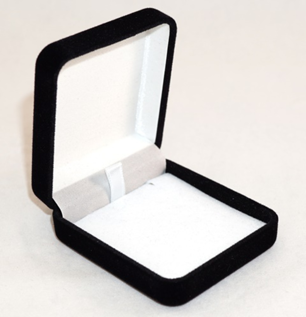 SSE - SMALL PENDANT/EARRING BOX BLACK FLOCK WHITE PAD image 0