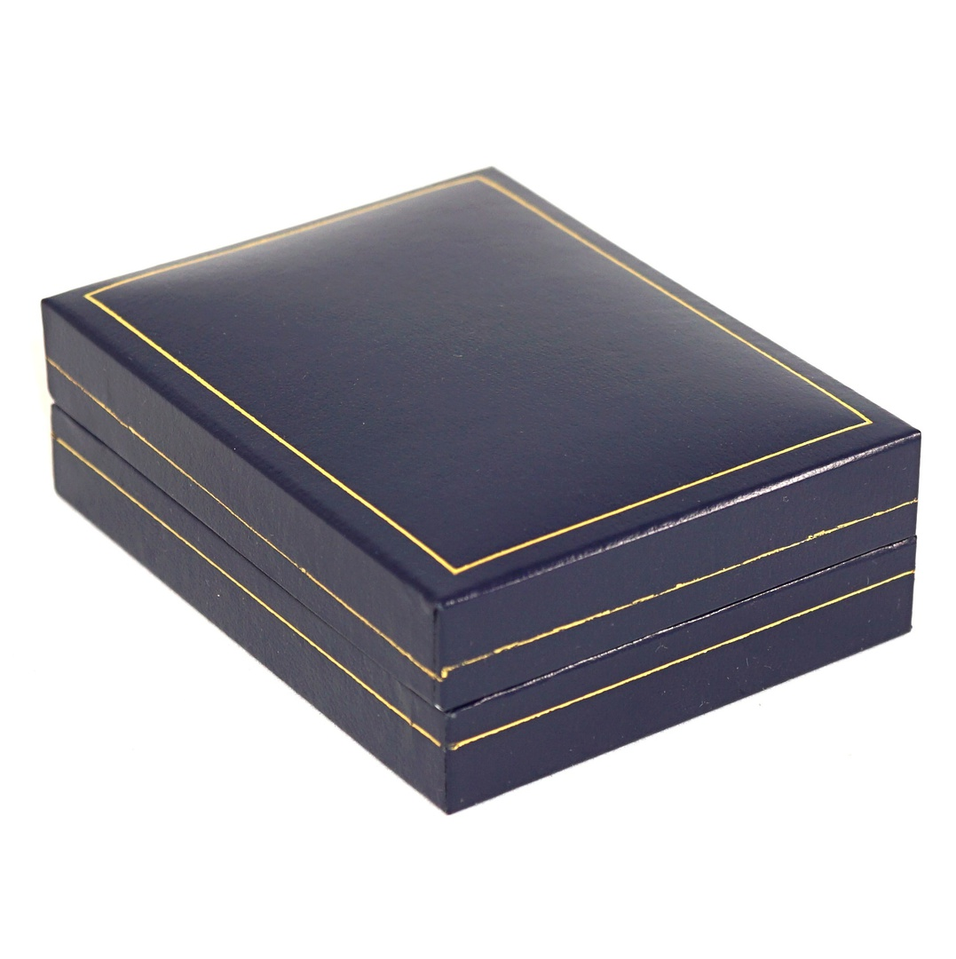 SC17 - MEDIUM PENDANT/EARRING BOX LEATHERETTE NAVY WHITE VELVET PAD BULK DEAL (24 PCS) image 1