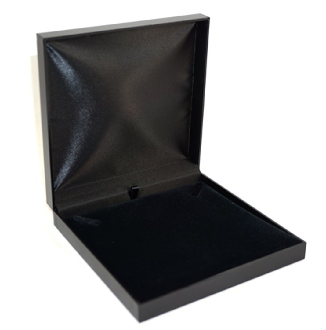 SDN3 - NECKLACE BOX LEATHERETTE BLACK NO LINE BLACK VELVET PAD BULK DEAL (12 PCS) image 0
