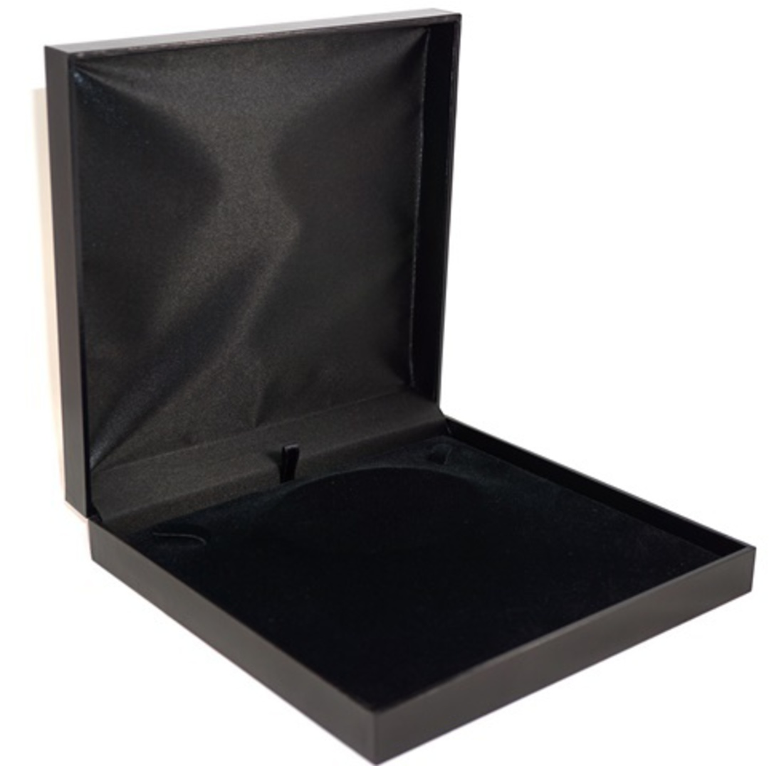 SDM - LARGE NECKLACE BOX LEATHERETTE BLACK NO LINE BLACK VELVET PAD BULK DEAL (6 PCS) image 0