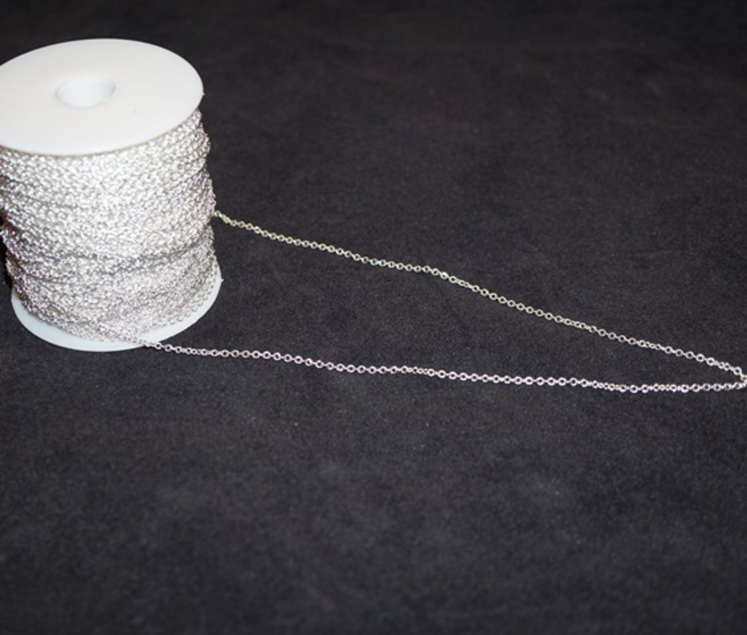 DAWN CHAIN EXTRA FINE CABLE SILVER PLATED 2.3X2.7MM (1 MTR) image 0