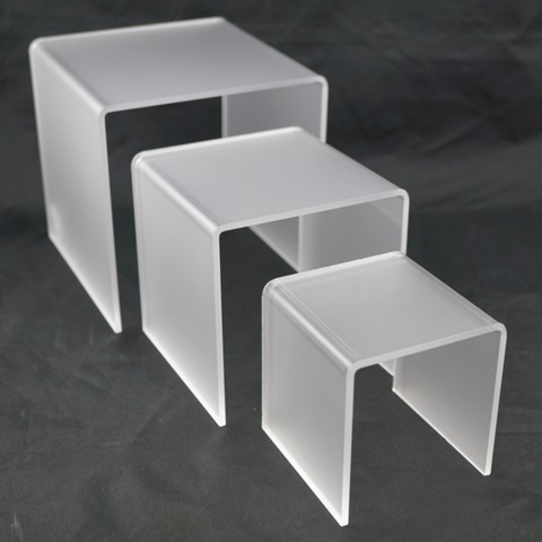 3 STEP FROSTED PERSPEX DISPLAY STAND (3 PCS SET) image 0