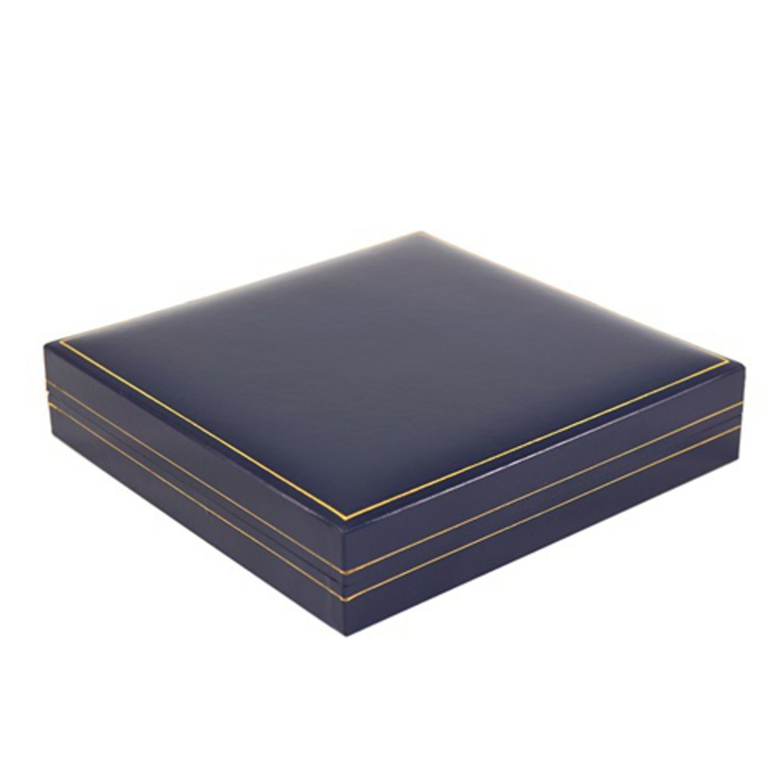 SDN3 - MEDIUM NECKLACE BOX LEATHERETTE NAVY WHITE PAD image 2