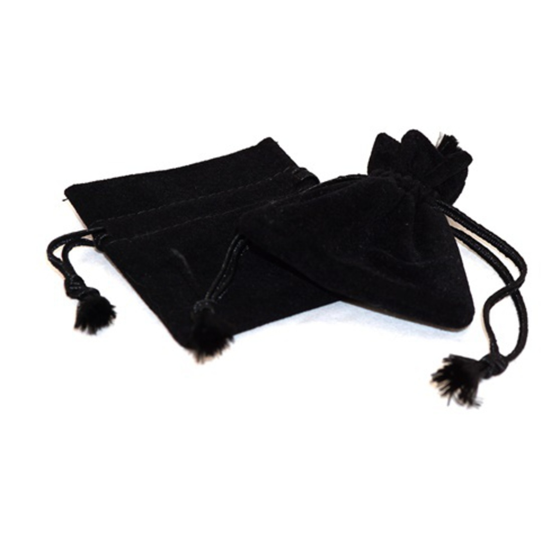 DELUXE BLACK SUEDE PARTITION POUCH SMALL image 0