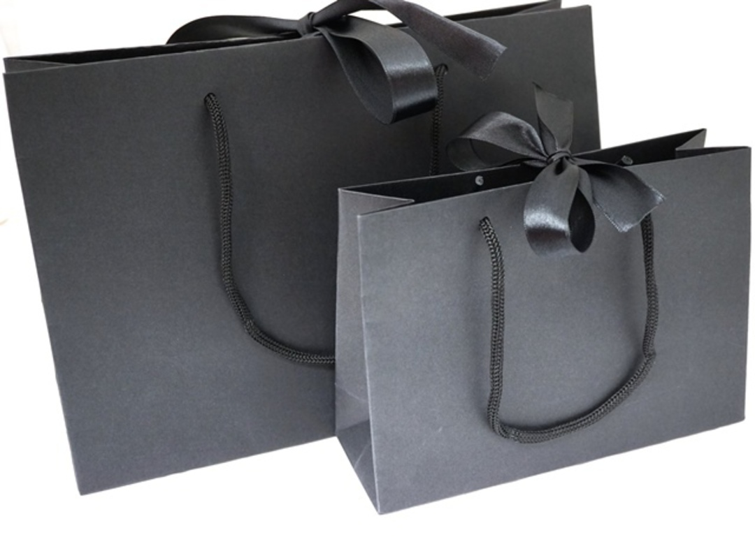 PREMIUM SMALL BLACK CARRY BAG WITH BLACK ROPE HANDLES & RIBBON TIE image 2