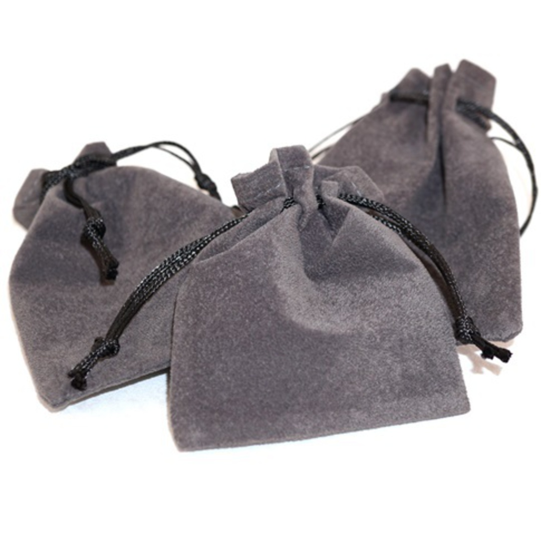 SUEDE POUCH CHARCOAL/BLACK CORD ASSORTED SIZES image 2