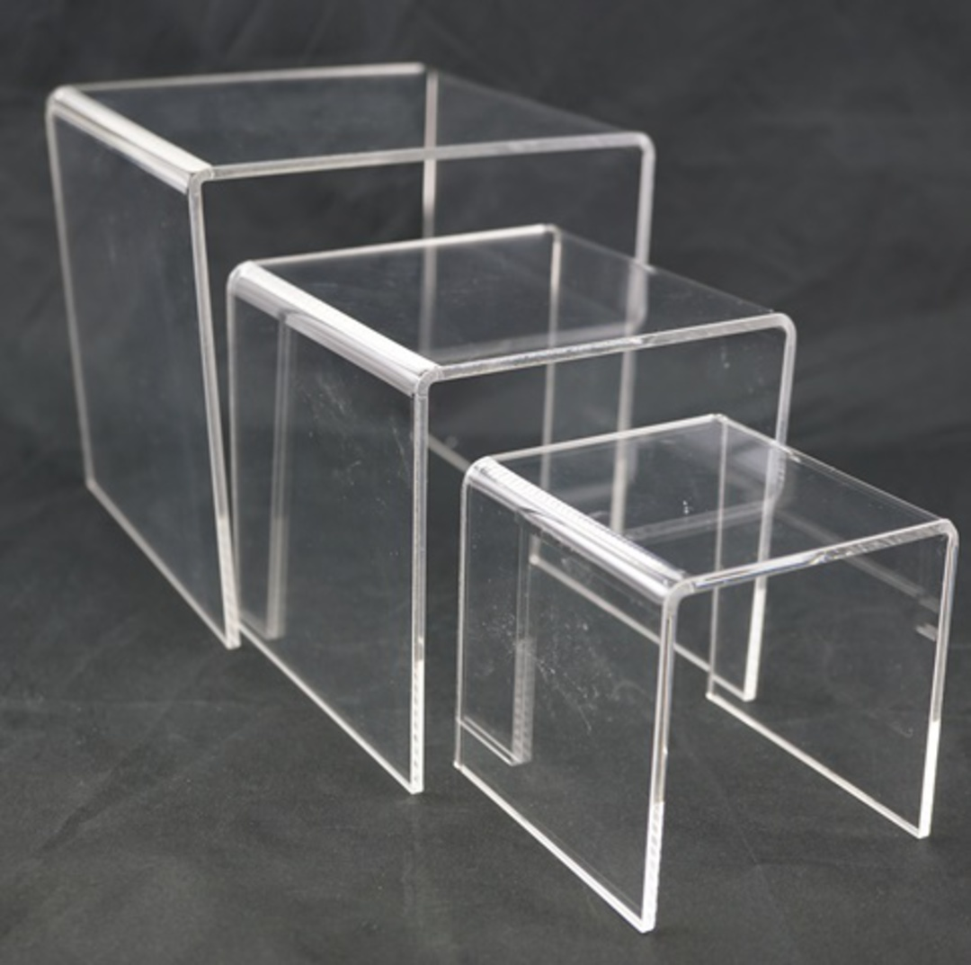 3 STEP CLEAR PERSPEX DISPLAY STAND (3 PCS SET) image 1