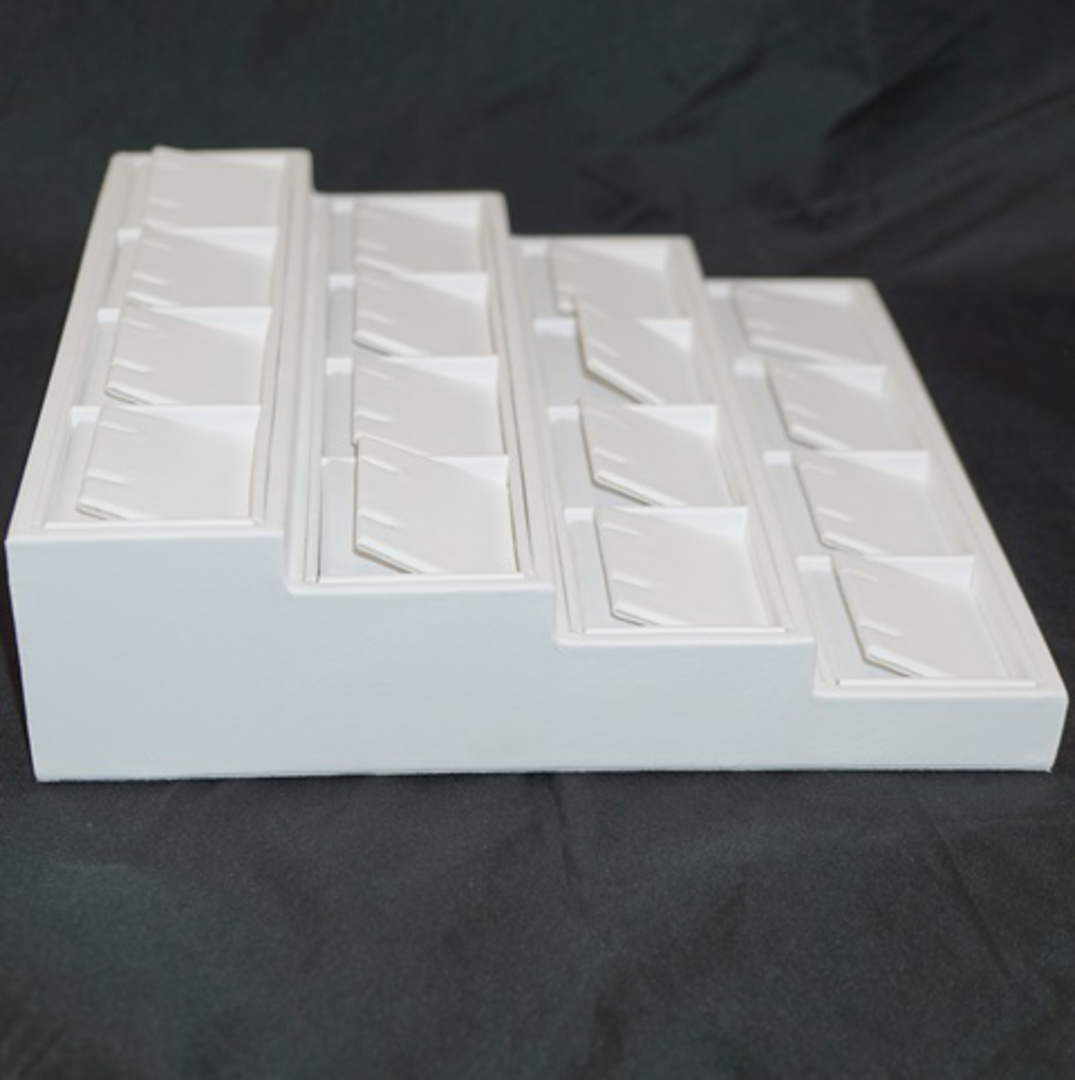 MULTI EARRING/PENDANT 4 TIER DISPLAY STAND WHITE VINYL image 1