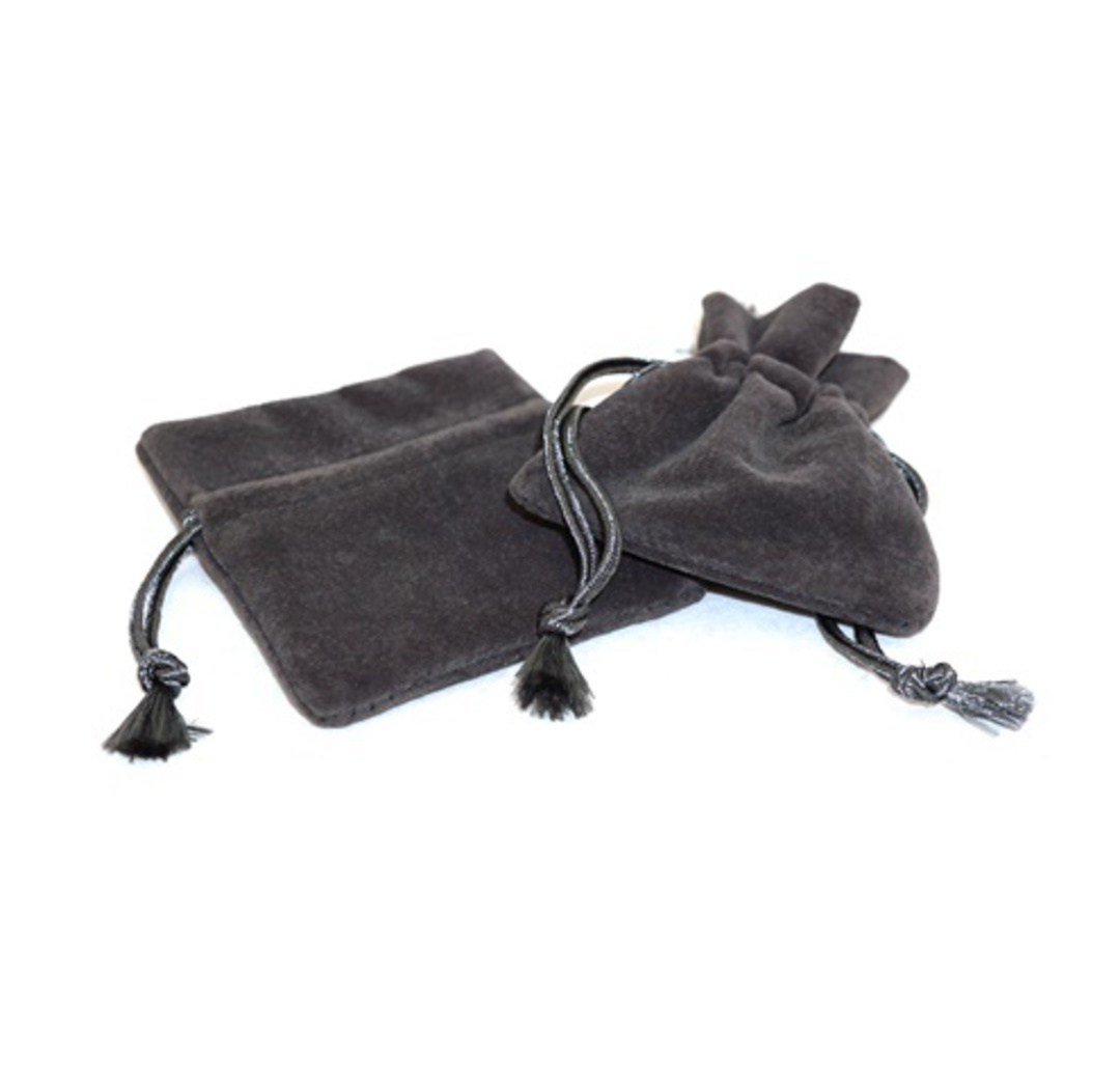 DELUXE CHARCOAL SUEDE PARTITION POUCH SMALL image 0