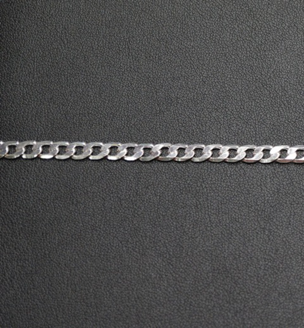 FLAT CHAIN HEAVY CURB SILVER PLATED 5X7.4MM (1 MTR) image 1
