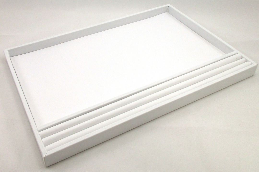 LARGE PRESENTATION/DISPLAY TRAY W/ROLL WHITE VINYL image 0