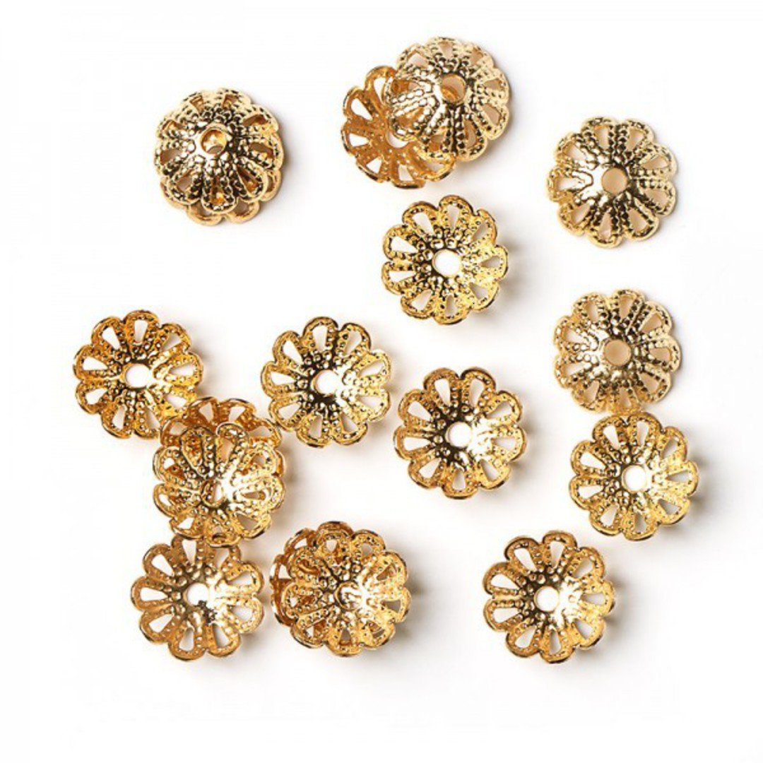 BEAD CAPS FILIGREE GOLD PLATED 10MM (50 PACK) image 0