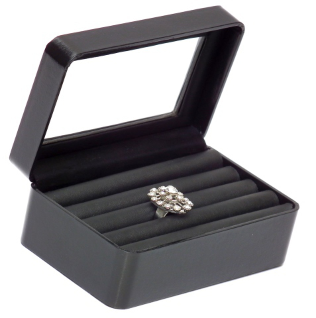 RING DISPLAY BOX LEATHERETTE BLACK 5 ROLL image 0