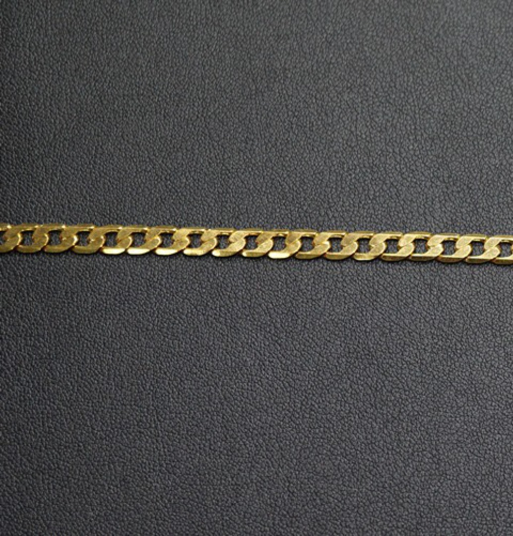 FLAT CHAIN HEAVY CURB GOLD PLATED 5X7.4MM (1 MTR) image 1