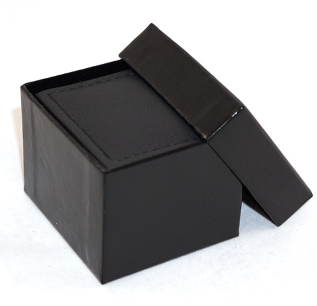 IMR PREMIUM - RING BOX IMITATION LEATHER BLACK BLACK VINYL PAD & OUTER BOX image 1
